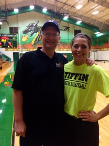 Dabbs with Tiffin Univ. sophomore Trischa Lacy, former standout at Urbana High School.