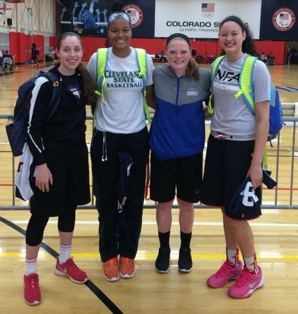 Congrats to the 4 Ohio girls who have advanced to the final cut of the USA U16 Trials. They are (l to r) Taylor Mikesell, Valencia Myers, Abby Prohaska and Bexley Wallace. The final cut will be at 10:30 a.m. Monday morning.  (Photo courtesy of Melissa Prohaska)